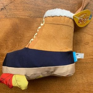 Bark woods boot dog squeaky crinkle chew toy leave